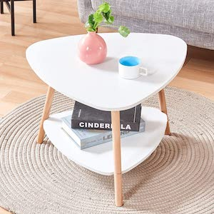 BonChoice 2-Tier Triangle White Simple Coffee Table