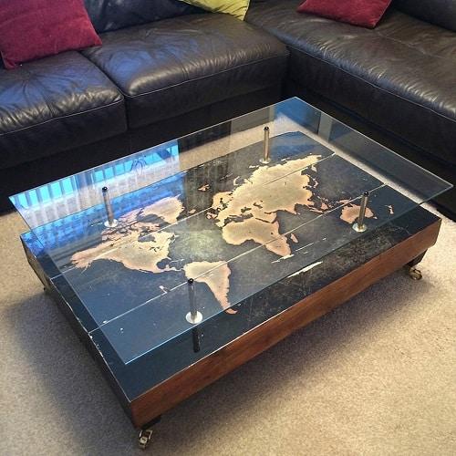 Handmade Vintage World Map Coffee Table