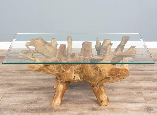 Reclaimed Teak Root Rectangular Oval Coffee Table