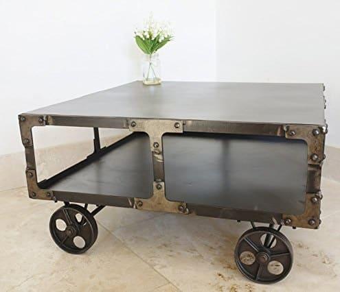 Urban Industrial Style Cart Wheels Metal Coffee Table