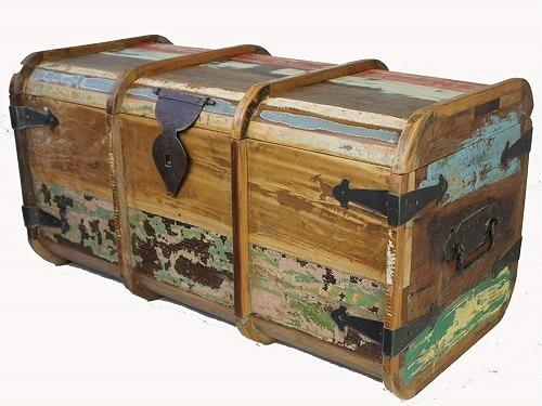 Vintage Teak Distressed Trunk Chest Coffee Table