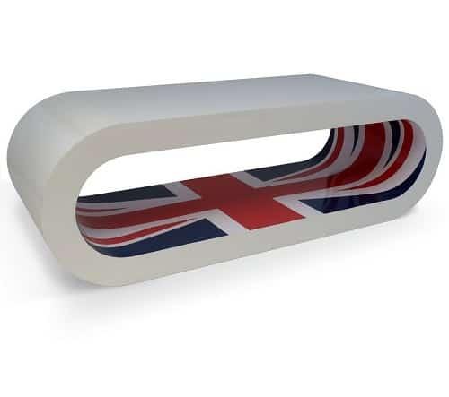 Zespoke Retro High Gloss White Union Jack Inner Hoop Coffee Table