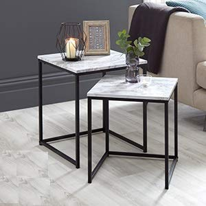 A2Z Home Solutions Marble Effect Nest of Tables