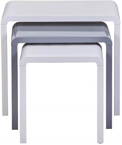 GOLDFAN Nest of 3 Tables White High Gloss