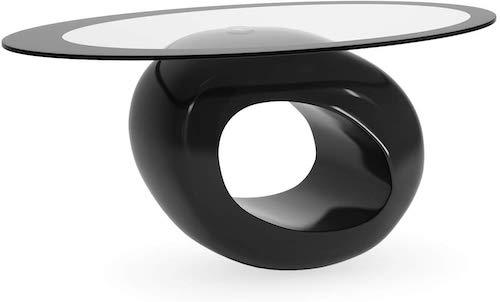 Panana Designer Oval Glass High Gloss Coffee Table