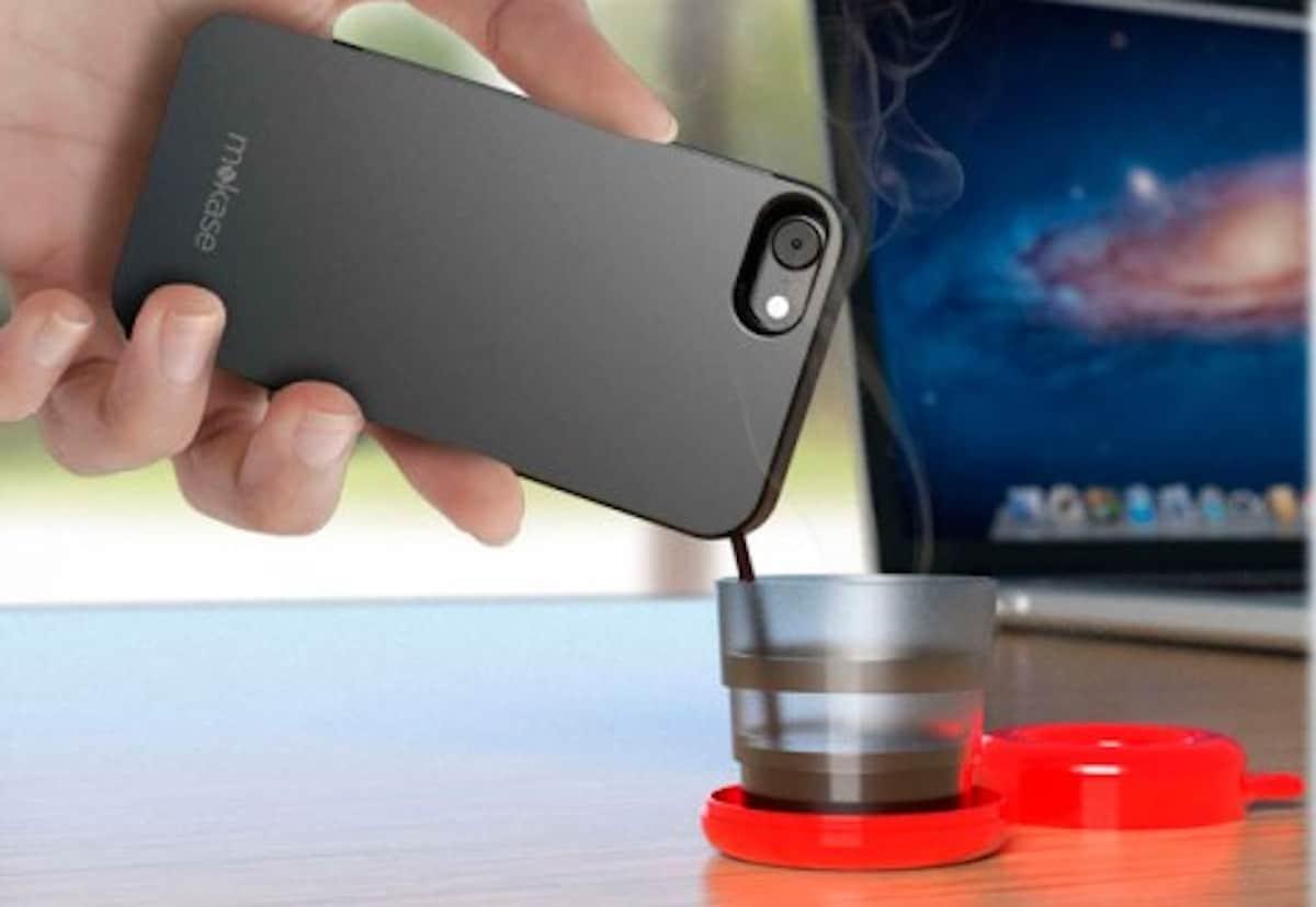 Mokase phone case pouring coffee into a glass
