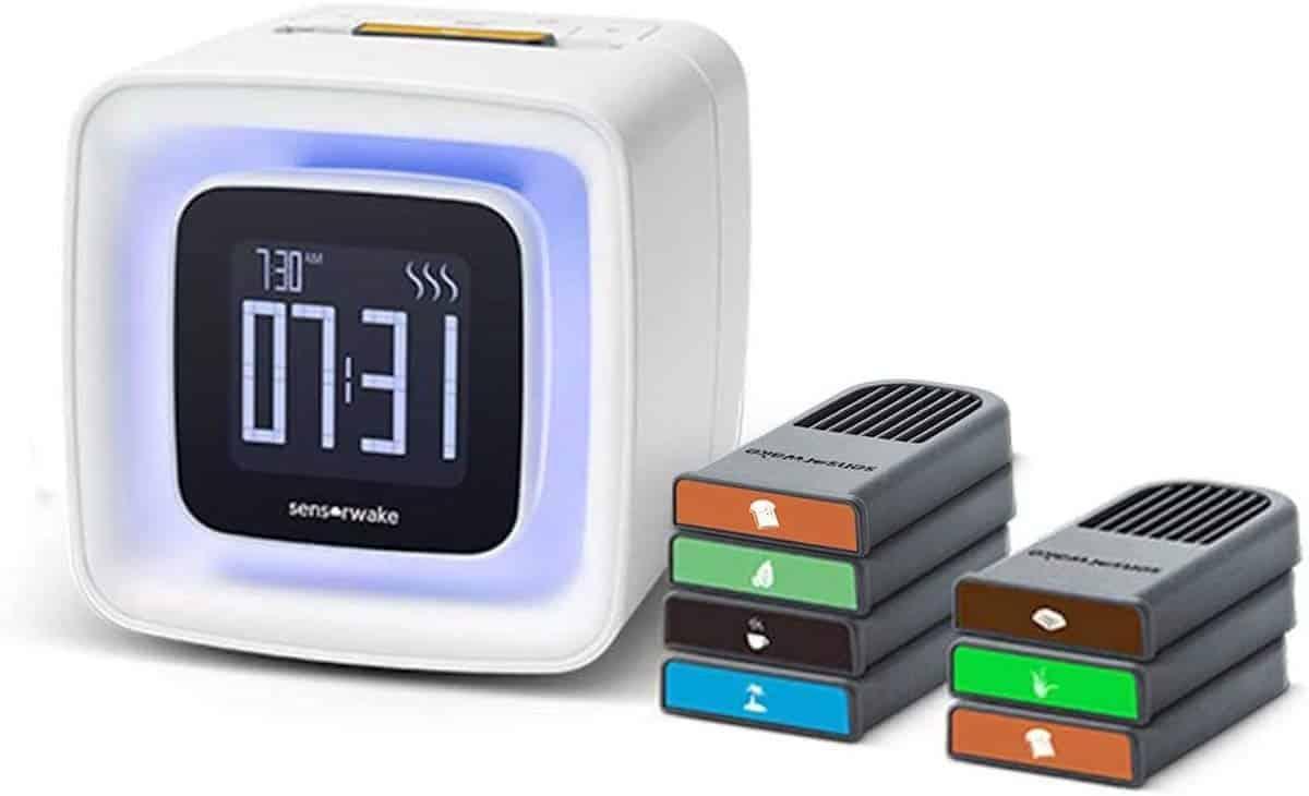 Sensorwake's alarm clock and various scented cartridges