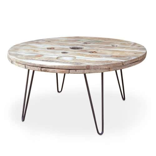Cable Reel Coffee Table With Hairpin Legs