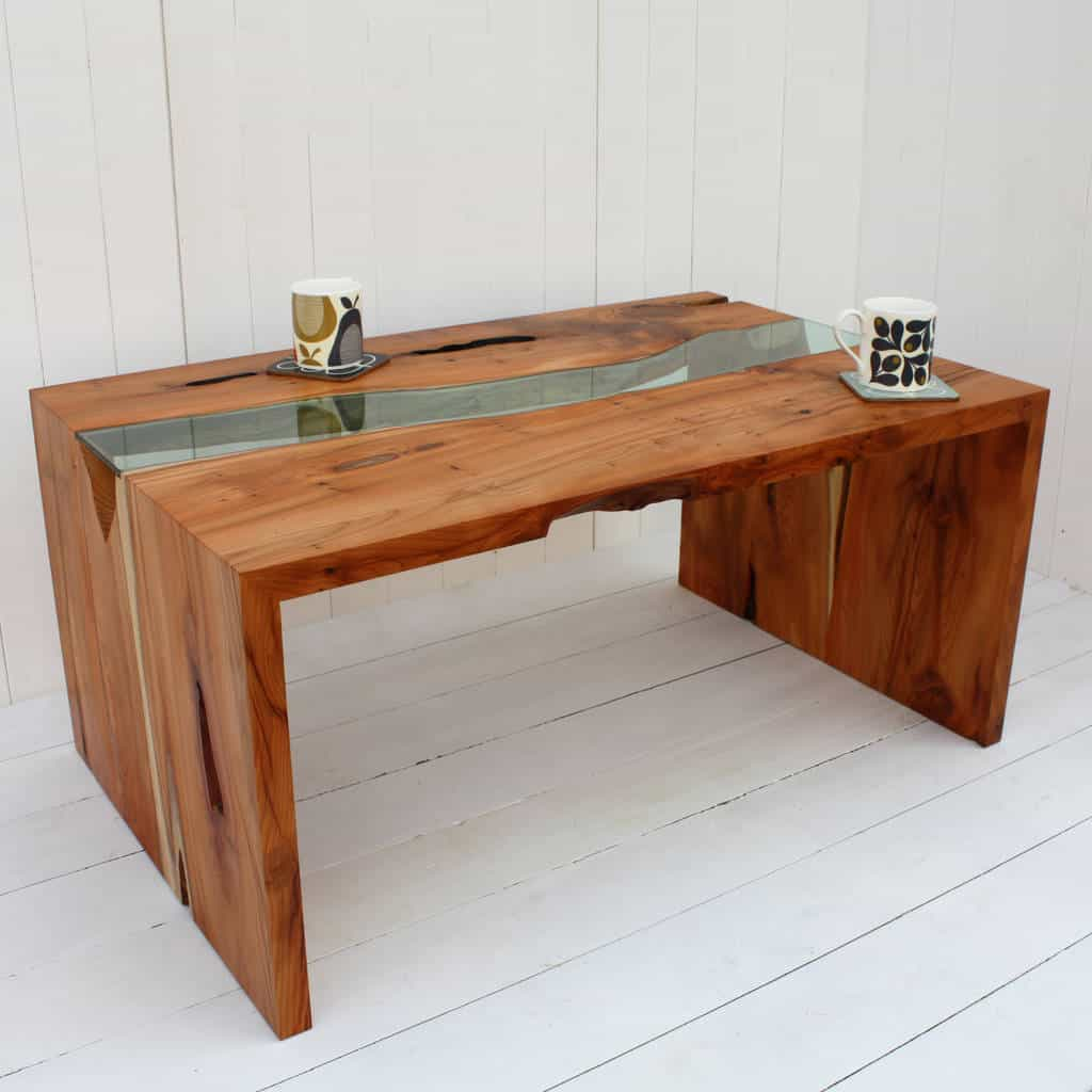 Yew And Glass Coffee Table by A+B FURNITURE