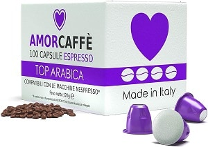 Amorcaffe 100 Nespresso Compatible Coffee Capsules Pods