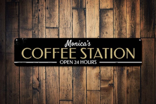 Coffee Station Sign Decor, Open 24 Hours Sign, Java Kitchen Decor, Custom Barista Sign