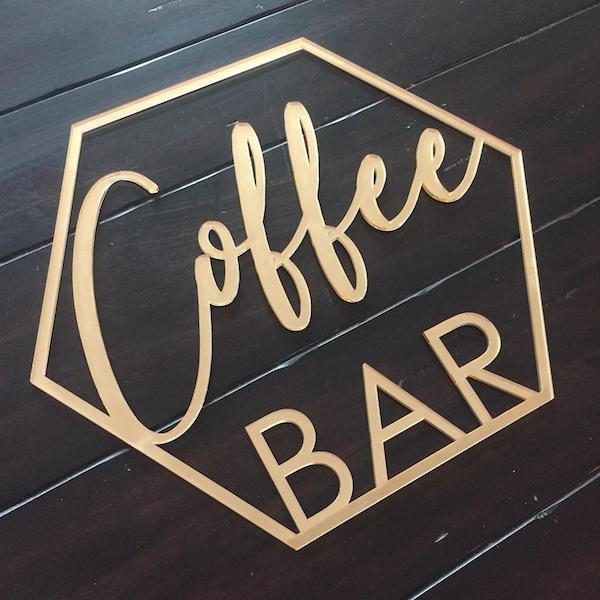Hexagon Coffee Bar Sign