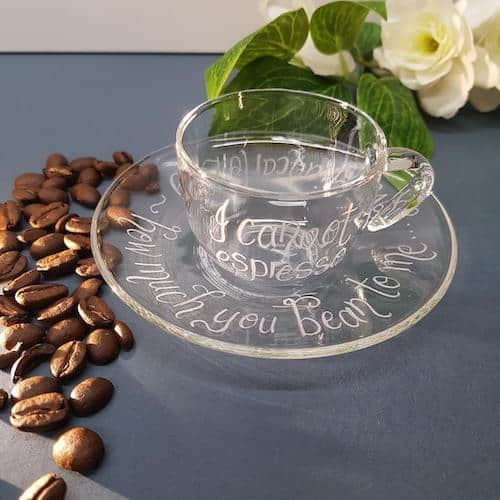 Cove Calligraphy Personalised Glass Espresso Cup