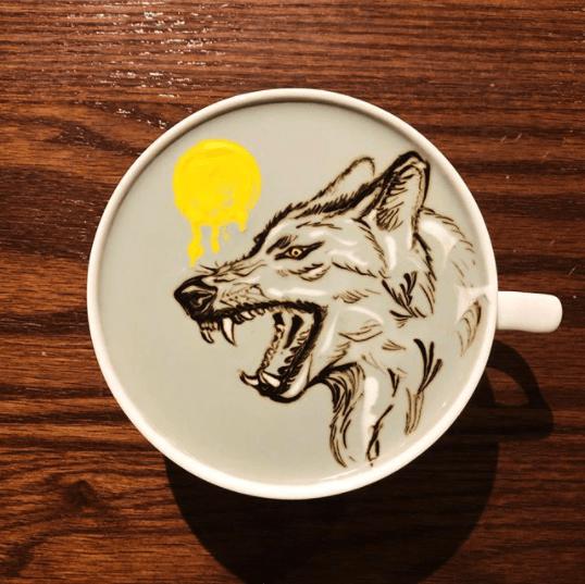 wolf latte art ideas
