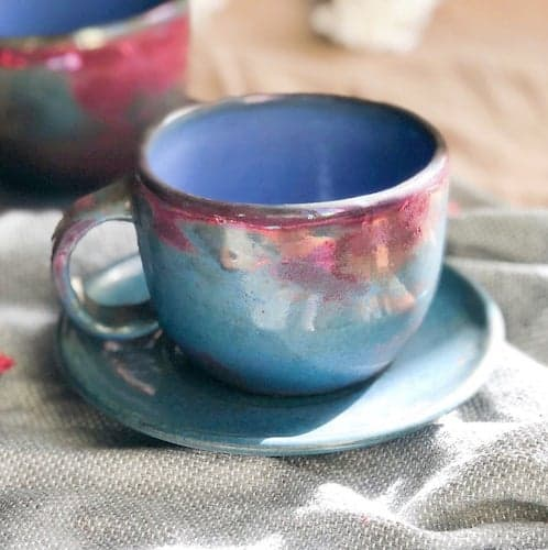 Decobate Blue Tea Cup with Red Metallic Luster