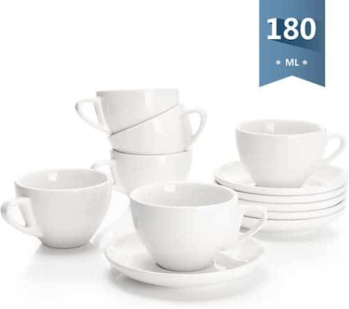 Sweese Porcelain Espresso Cups with Saucers