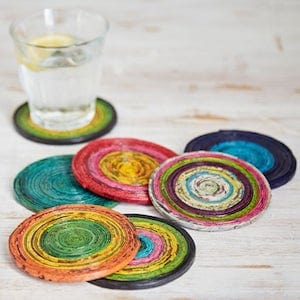Amber And Rose Recycled Newspaper Coasters
