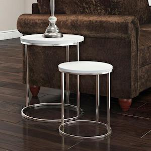 dylexUK White High Gloss Round Nest of 2 Tables