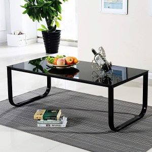 OFCASA Black Glass Coffee Table