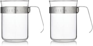 Barista & Co Metal Frame Glass Coffee Cups Set of 2
