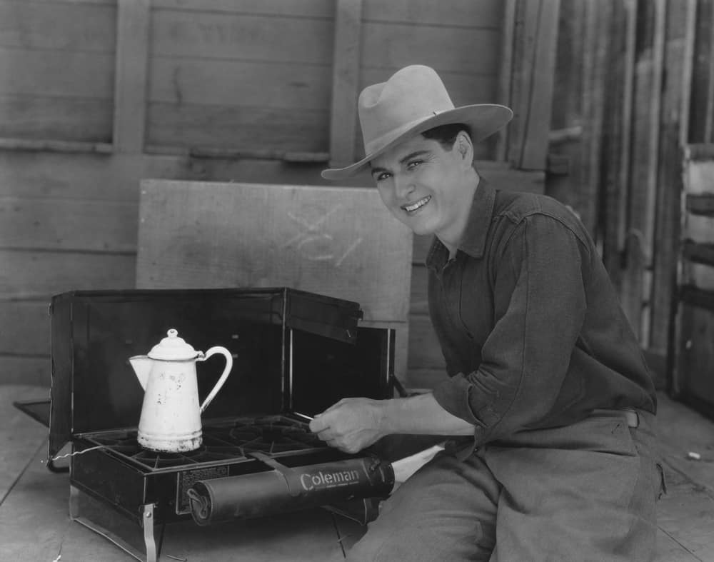Cowboy cooking coffee