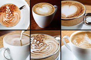 Latte art various different designs