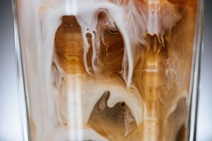 close up of iced coffee in glas