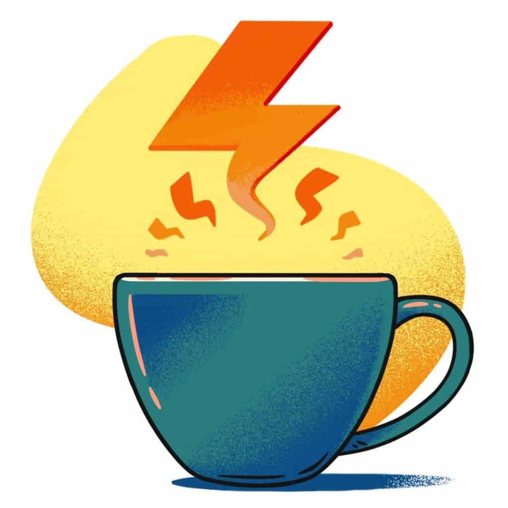illustration of a cup of coffee with caffeine symbolised by a flash