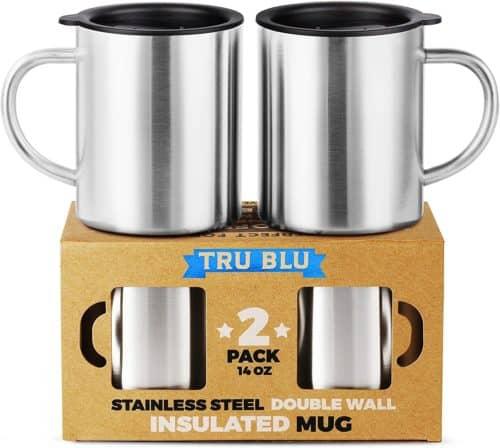 Tru Blu Stainless Steel Coffee Mug with Lid