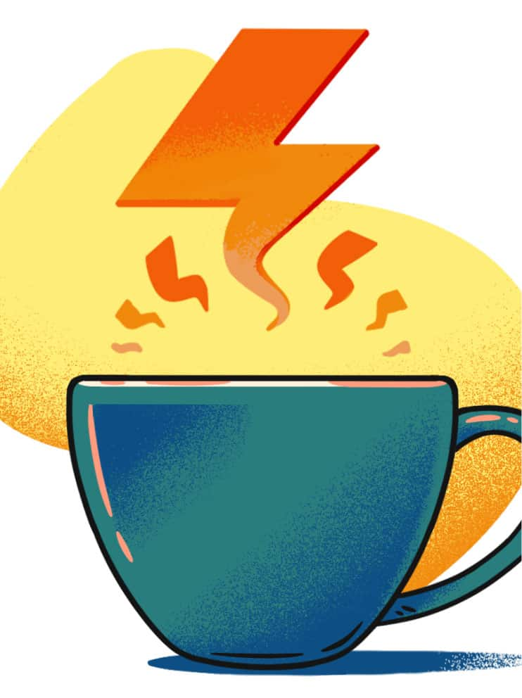 illustration of woman looking at strong coffee hero image