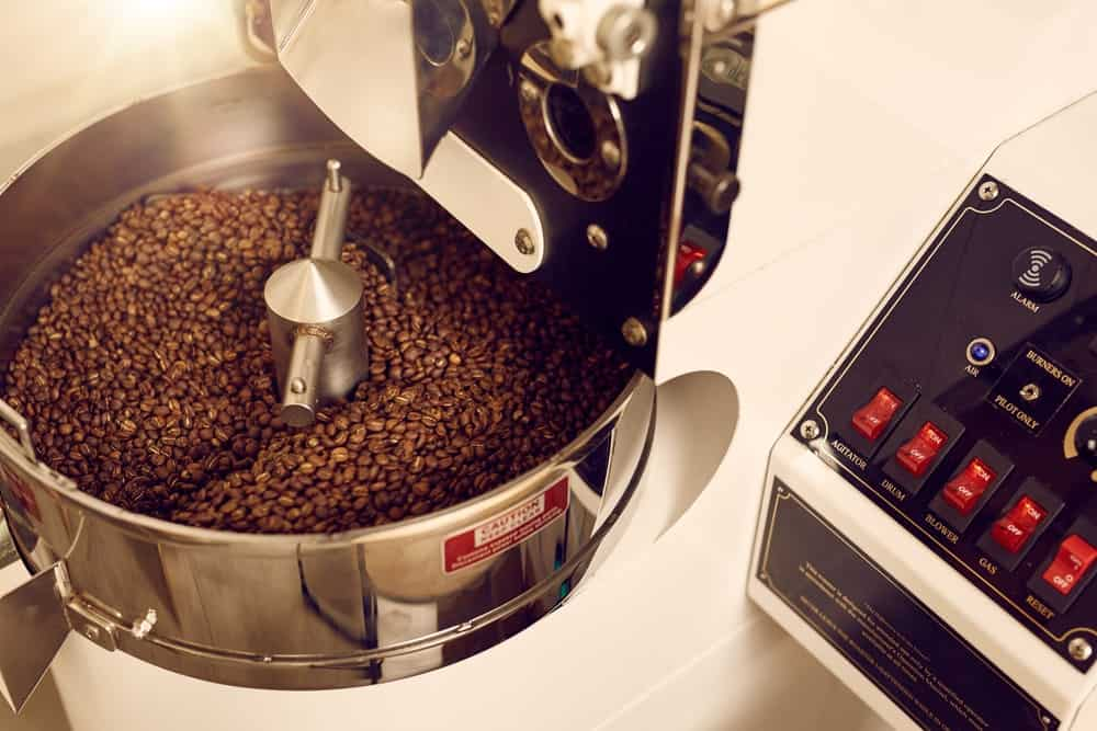 Coffee beans in coffee roaster