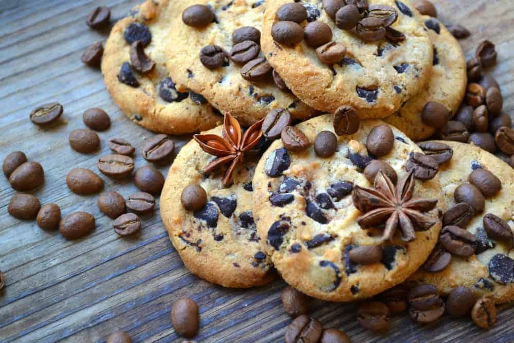 coffee beans sprinkled on cookies